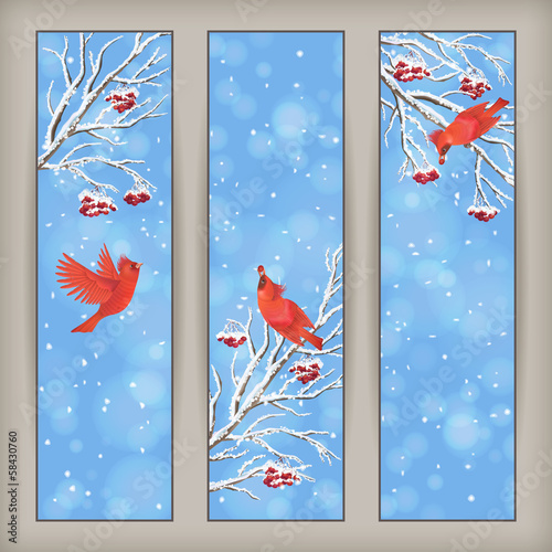 Vertical Christmas Banners Bird Rowan Branches