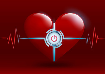 red heart with a button on a red background
