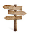 wooden arrow sign post or road signpost isolated