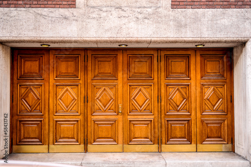 Set of six carved wooden outside doors