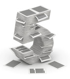 Number 5 from pages paper stacks font 3d isometry poster