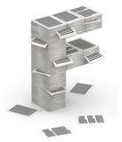 Letter F, pages paper stacks font 3d isometry poster