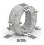 Letter O, pages paper stacks font 3d isometry poster