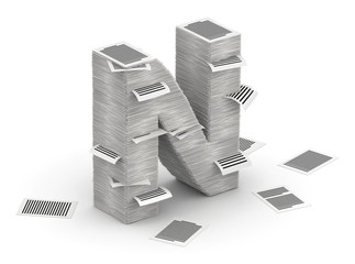 Letter N, pages paper stacks font 3d isometry