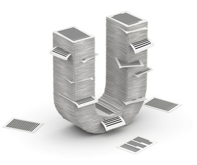 Letter U, pages paper stacks font 3d isometry