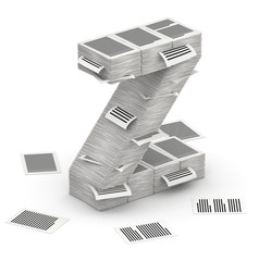 Letter Z, pages paper stacks font 3d isometry