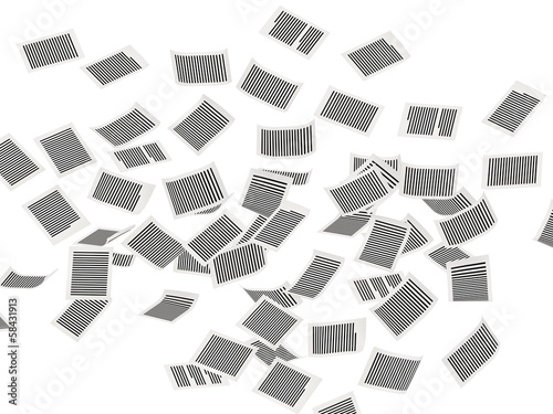 Flying pages of paper  wall 3d isometry