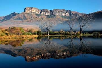Sandstone mountains and reflection, Drakensberg mountains