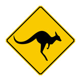 Kangaroo warning sign (Yellow sign)