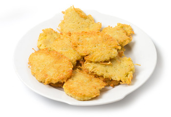Potato pancakes on plate