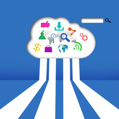 Cloud computing with colorful application concept  in the cloud
