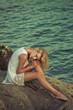 Blonde beauty posing in paradise