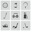 Vector black golf icons set - 58433384