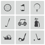 Vector black golf icons set