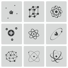 Vector black atom icons set