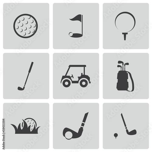 Fototapeta Vector black golf icons set