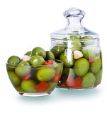 Olives in a glass , Preserved vegetables composition
