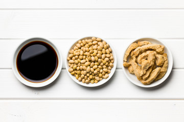 soy sauce, soybeans and soy meat