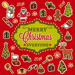 merry christmas hand drawn card