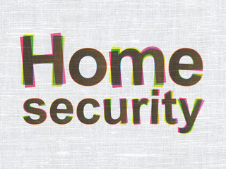Safety concept: Home Security on fabric texture background