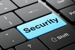 Privacy concept: Security on computer keyboard background