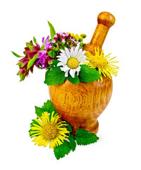 Herbs and flowers in a mortar and table