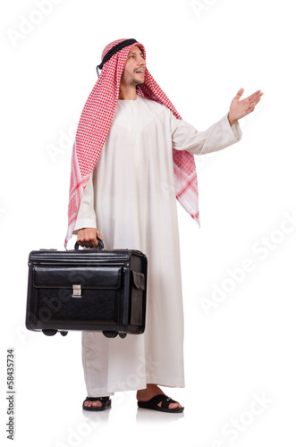 Arab man with luggage on white