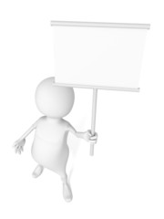 3d man hold white blank information sign board