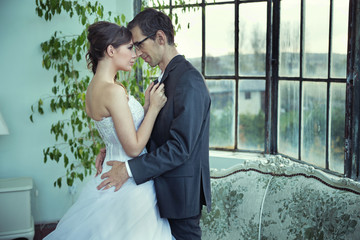 Picture presenting cute wedding couple
