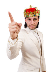 Funny king isolated on the white background