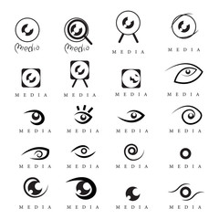 Eye - Media Icons Set - Isolated On White Background
