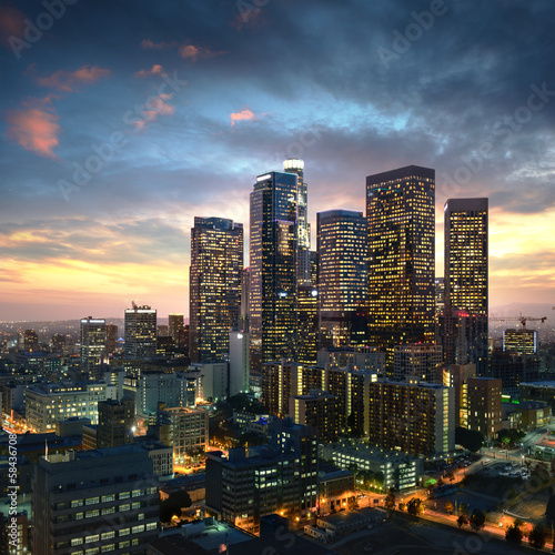 canvas print picture Los Angeles downtown at sunset, California