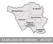 Inselkarte von Saarland mit Grenzen in Grau