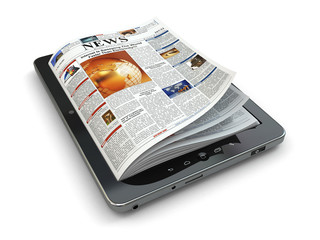 News online concept. Tablet pc and newspaper.