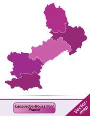 Grenzkarte von Languedoc-Roussillon mit Grenzen in Violett