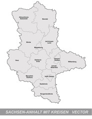 Inselkarte von Sachsen-Anhalt mit Grenzen in Grau