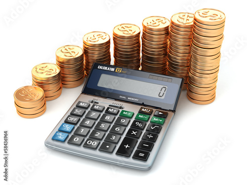 Financial concept. Calculator and gold coins.