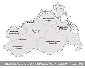 Inselkarte von Mecklenburg-Vorpommern mit Grenzen in Grau