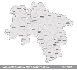 Inselkarte von Niedersachsen mit Grenzen in Grau