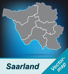 Saarland mit Grenzen in leuchtend grau
