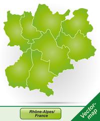 Rhrône-Alpes mit Grenzen in Grün