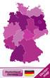 Deutschland mit Grenzen in Violett