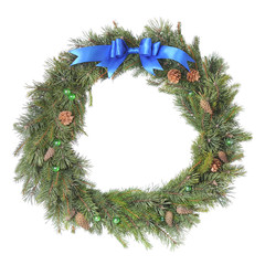 Christmas wreath with blue bow