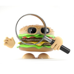 Burger looks through a lens hungrily