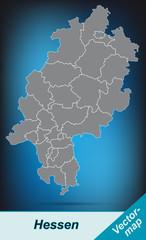 Hessen mit Grenzen in leuchtend grau