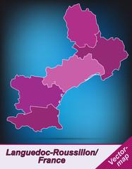 Languedoc-Roussillon mit Grenzen in Violett