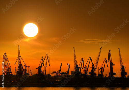 Sunset over the port