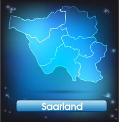 Saarland mit Grenzen in leuchtend einfarbig