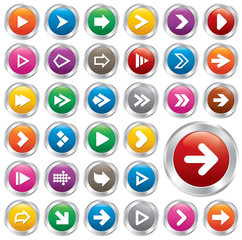 Arrow sign icon set. Internet metallic buttons.