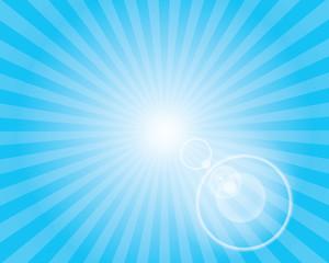 Sun Sunburst Pattern with lens flare. Blue sky.